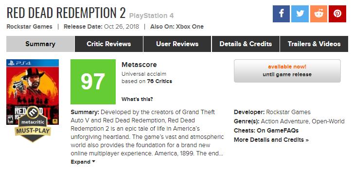 《荒野大镖客2》正式上线 各大媒体评分解禁 平均97分