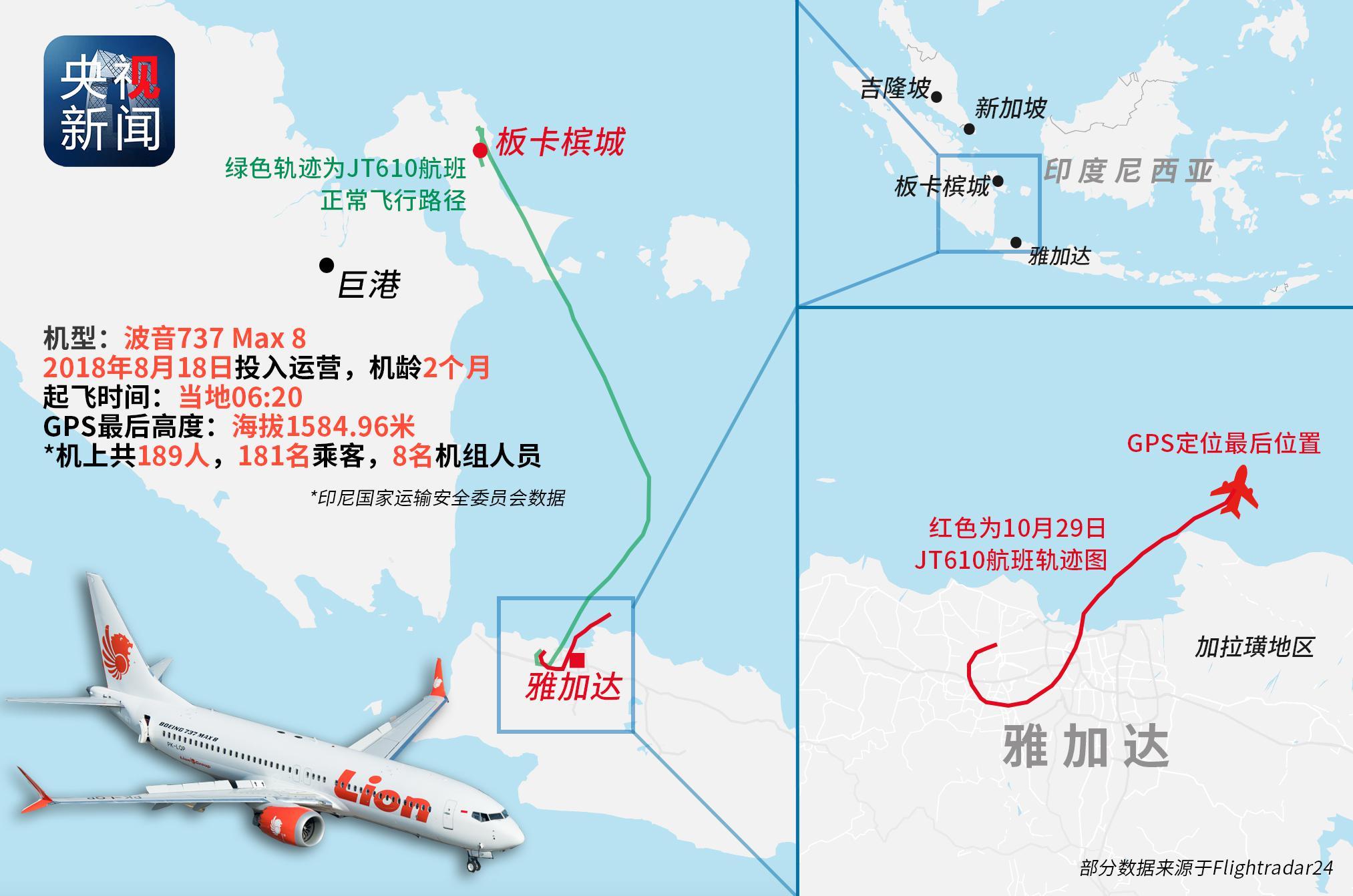 印尼狮航客机飞行路径图曝光 坠毁前曾试图折返