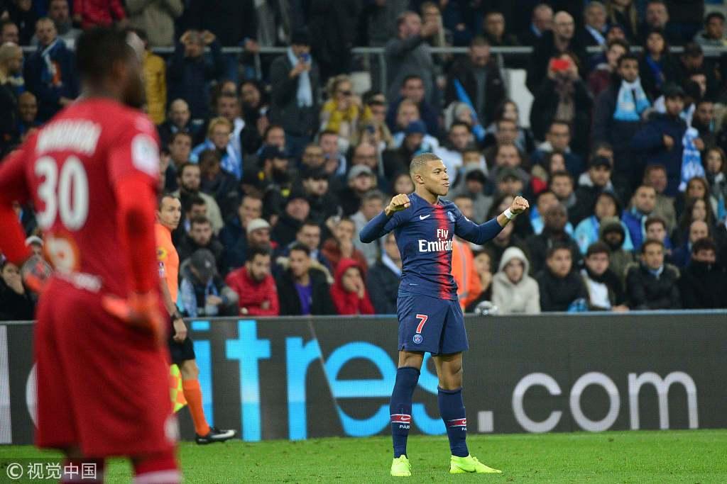 法甲-姆巴佩连续3轮建功 巴黎2-0击败马赛全胜领跑