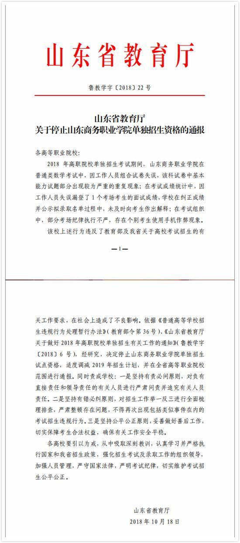 《山东省教育厅关于停止山东商务职业学院单独招生资格的通报》