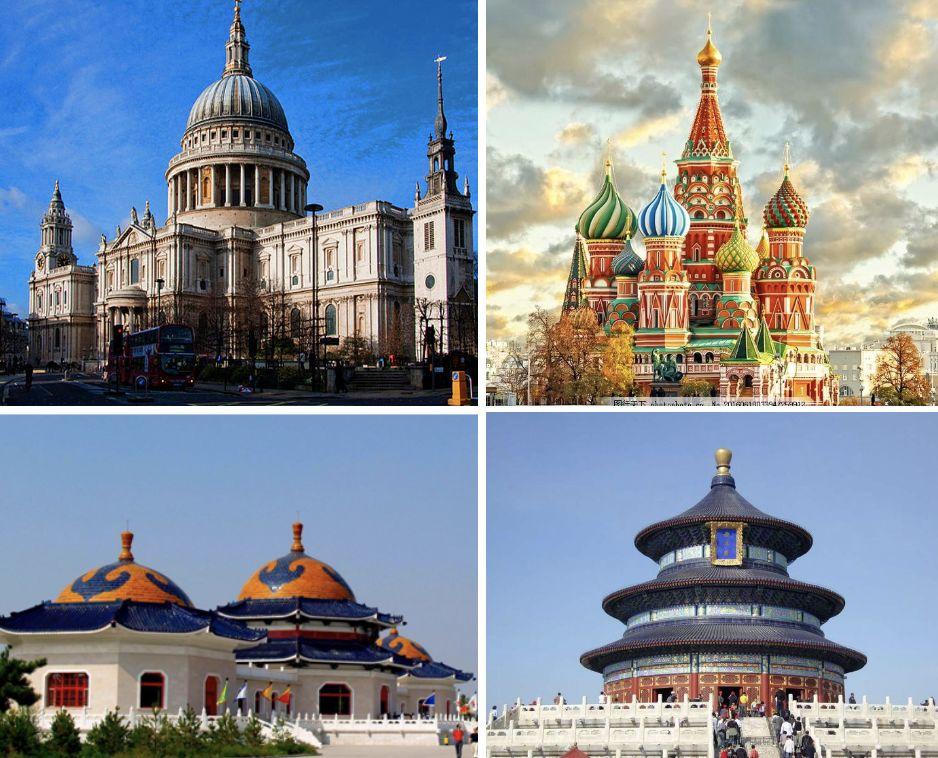 伦敦的圣保罗大教堂、莫斯科的圣母大教堂、内蒙古的成吉思汗陵以及北京的天坛祈年殿也都是「大圆顶建筑」 为什么很多清真寺都有这种圆顶?这种造型真是源于伊斯兰的教法吗?它真的是沙特传入的吗? 来自罗马的大圆顶 事实上,今天的清真寺常见的大圆顶并非源自伊斯兰教传统。伊斯兰教最早的几座清真寺,都没有大圆顶。 《古兰经》提到名字的清真寺有三座,即最尊贵的禁寺(又名麦加大清真寺,穆斯林朝觐的最终目的地)、远寺(又名耶路撒冷阿克萨清真寺)和「买士阿雷哈兰」。它们在建造之初都没有圆顶,今日的圆顶都是后世加盖的。