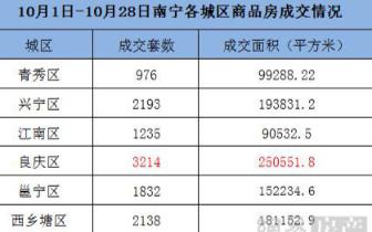 10月南宁楼市成交量微涨 超4500套房源入市补仓