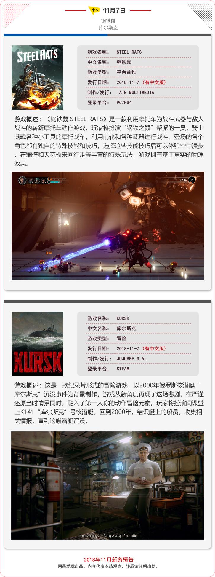 新游半月探:2018年11月主机/PC新游发售概览(上)