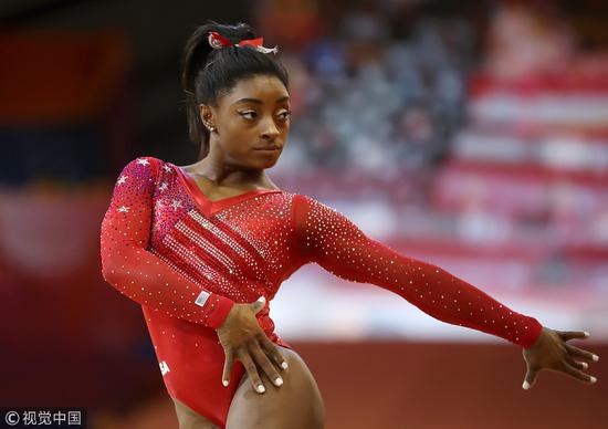体操世锦赛拜尔斯全能第四次夺冠 中国排第7第9