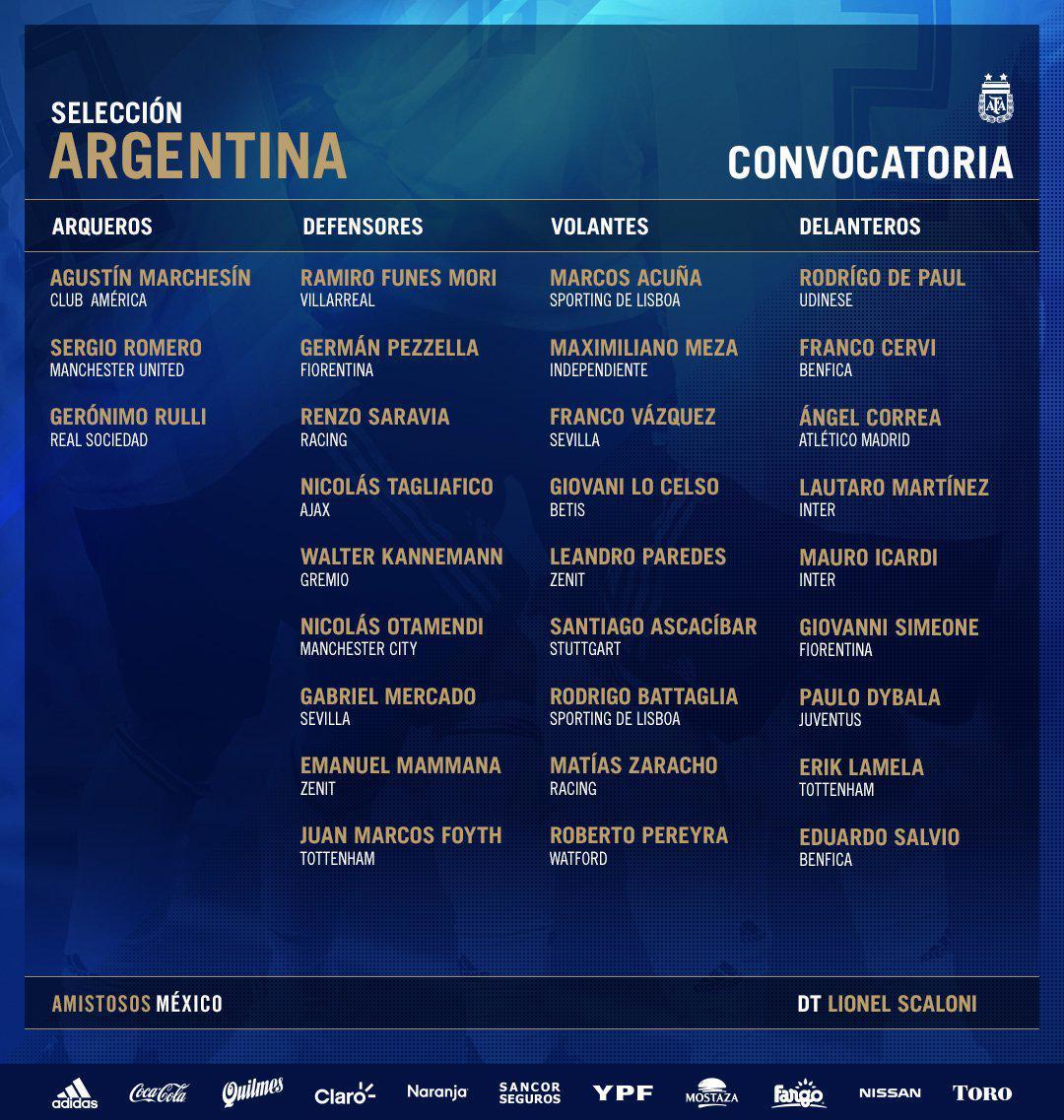 阿根廷最新名单:梅西继续缺席 热刺苦难天才回归