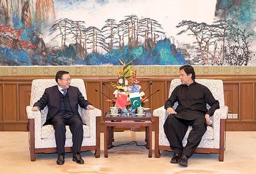 中国银行董事长陈四清与巴基斯坦总理伊姆兰·汗在京会面