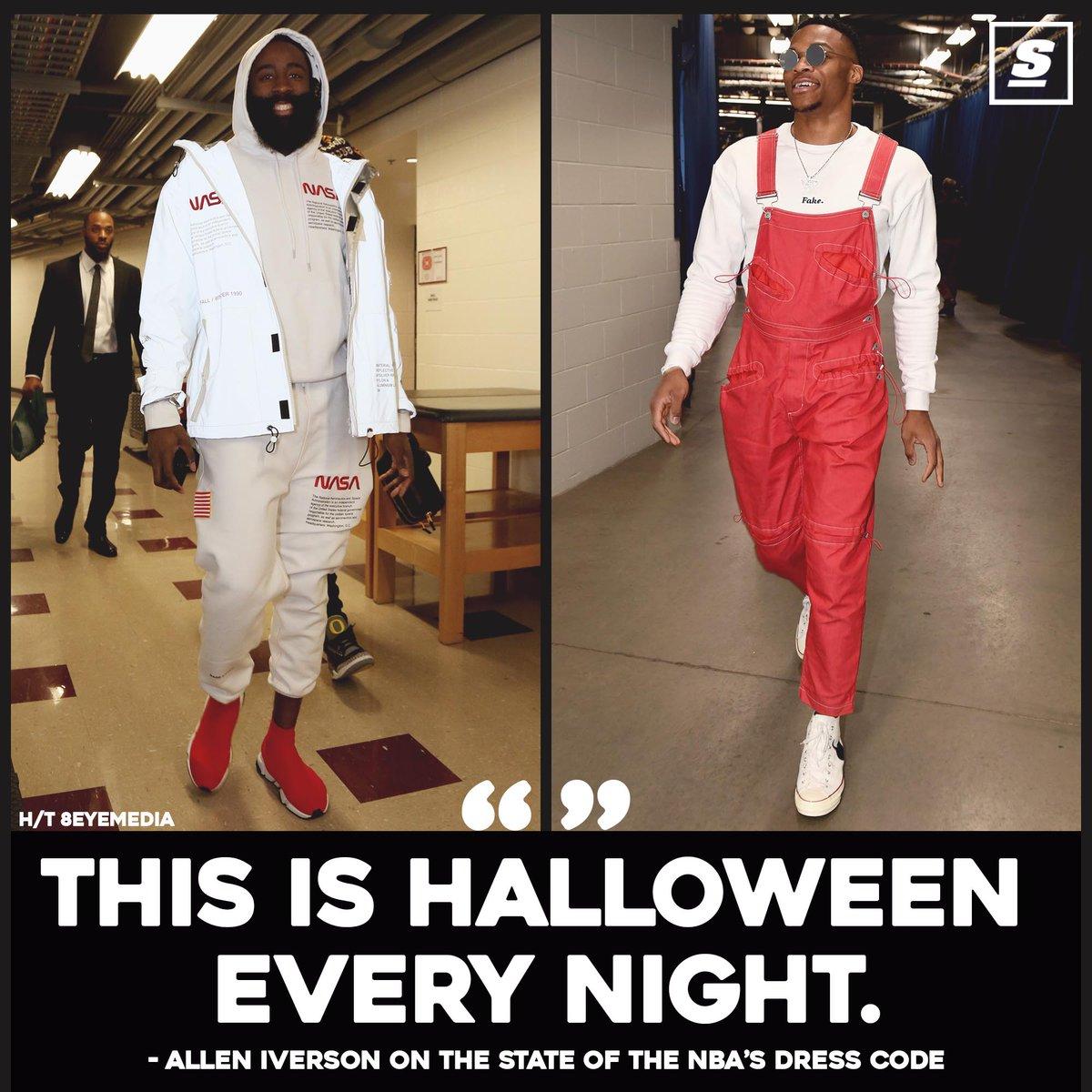 艾弗森吐槽NBA球员穿着:他们每晚都像在过万圣节