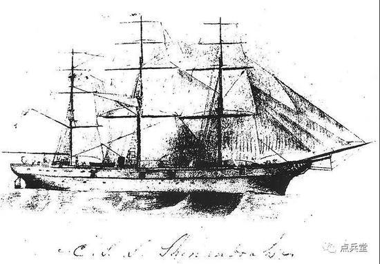 谢南多厄号的铅笔画,由其舰长詹姆斯·沃德尔中校绘制在自己的笔记本