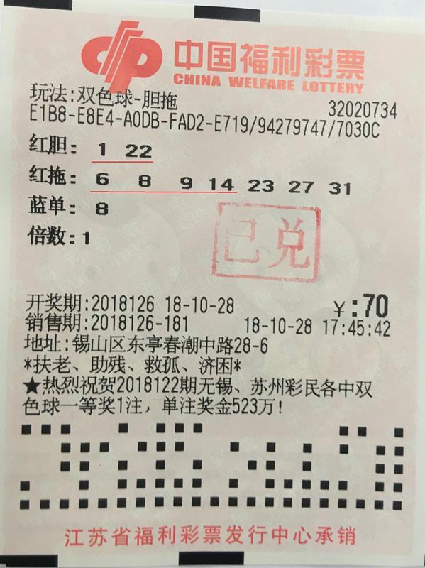 """无锡彩民""""急用先学""""揽双色球19万奖 中奖彩票曝光"""
