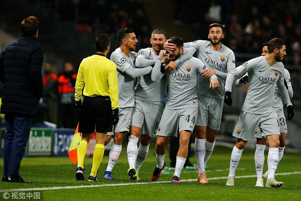 欧冠-小将传射罗马2-1客胜 霍村补时绝平2-2里昂
