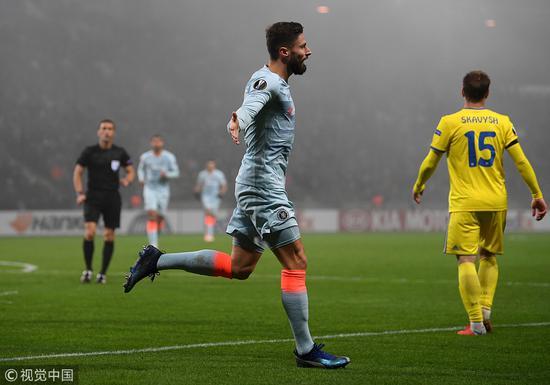 欧联-吉鲁建功切尔西1-0鲍里索夫 4连胜提前2轮出线