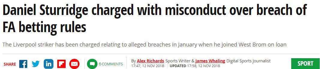 惹大事了!利物浦大将涉嫌赌球 已遭英足总指控
