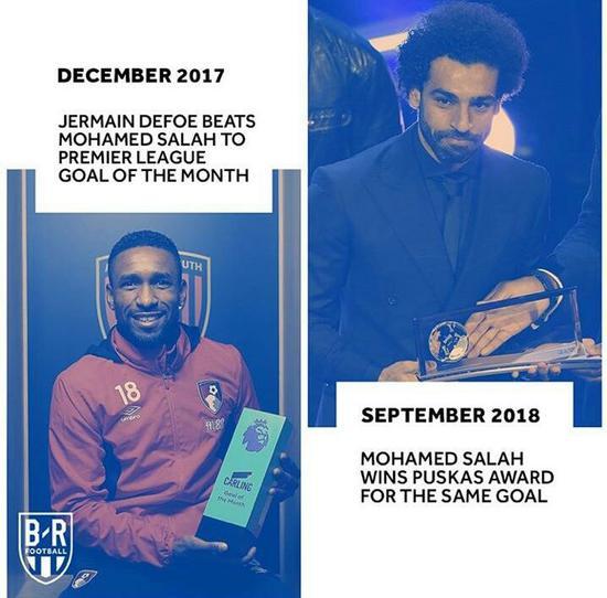 2017年12月,迪福的进球击败萨拉赫,当选当月英超最佳进球。而萨拉赫的这个进球却击败了所有人,荣膺当年的普斯卡什奖。