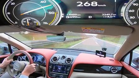 宾利添越V8德国高速狂飙