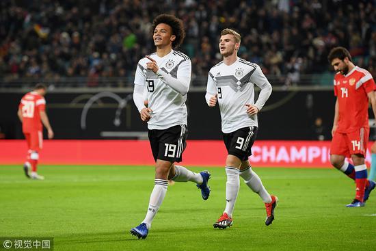 热身-萨内处子球拜仁小天王传射 德国3-0俄罗斯