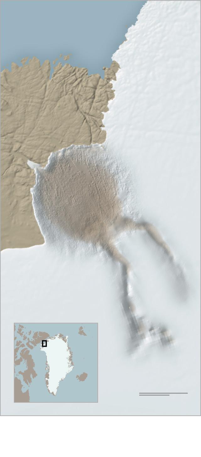 格陵兰岛冰下疑现巨大陨石坑, 或与灭绝理论有关