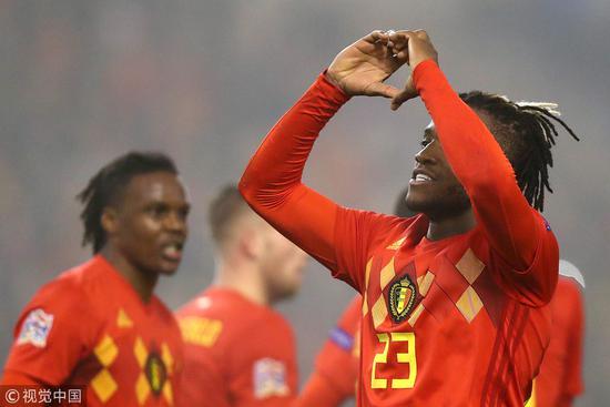 欧国联-最快乐大将2球+中柱 比利时2-0灭冰岛3连胜