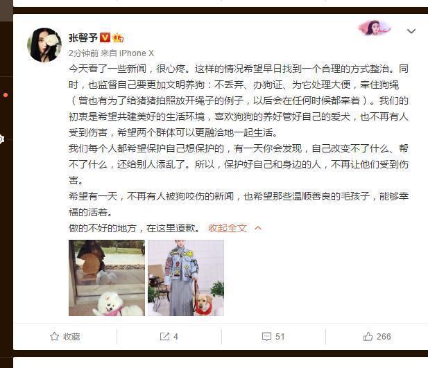 军嫂张馨予呼吁文明养狗:希望不再有人被狗咬伤