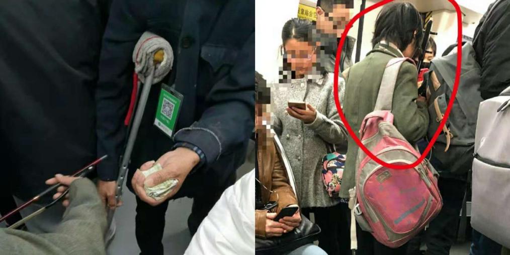 天津地铁三号线有人拉二胡乞讨