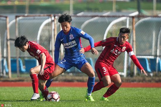 U23联赛-沪上德比申花2-1逆袭上港 恒大1-1权健