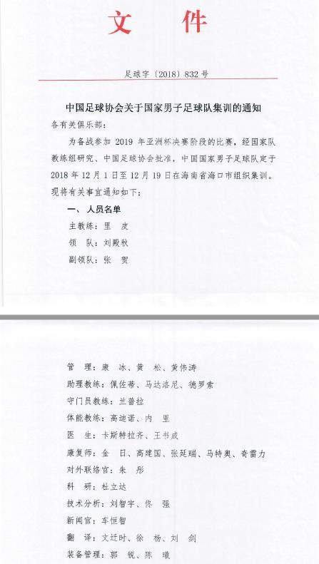 国足亚洲杯大名单:郑智张琳�M回归 郭全博首次入选