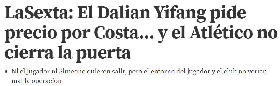西媒:大连要迭戈-科斯塔,马竞开价7500万欧