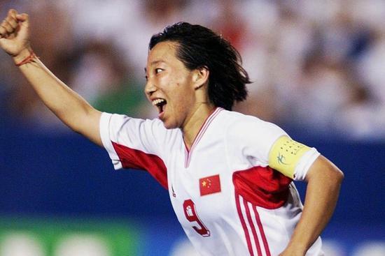 孙雯在对阵加纳的比赛中上演帽子戏法