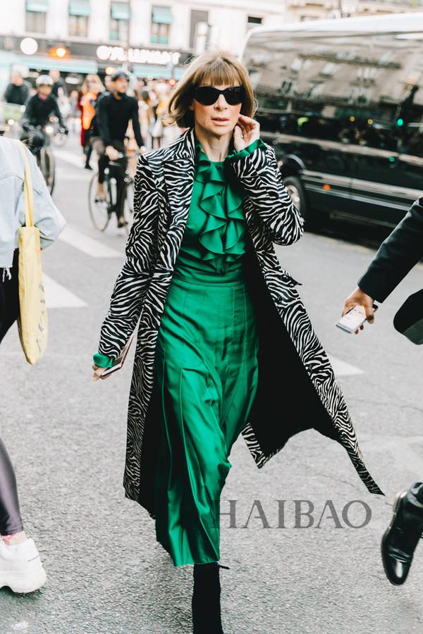 《Vogue》主编安娜·温图尔 (Anna Wintour) 2019春夏巴黎时装周秀场外街拍