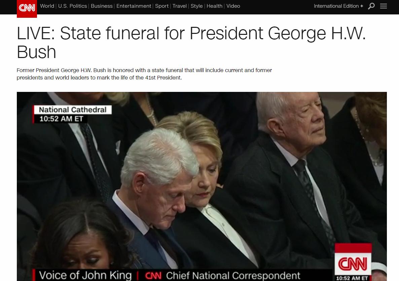 老布什国葬开始 特朗普夫妇、奥巴马夫妇出席