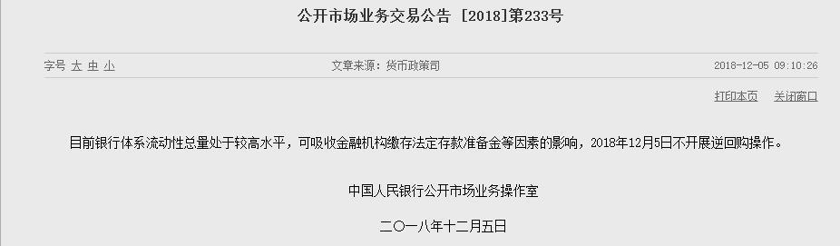 央行12月6日不开展公开市场操作