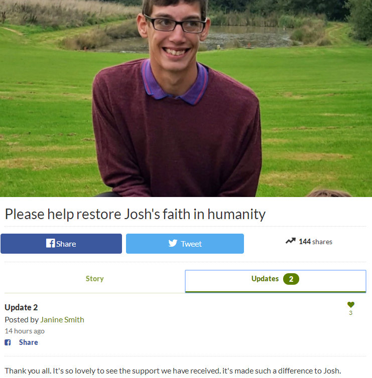 Josh母亲发起的帮助他恢复信任的活动——页面截图
