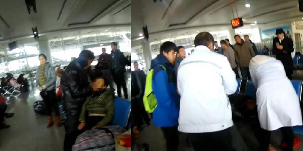 旅客火车站突然晕倒 警民联合救援