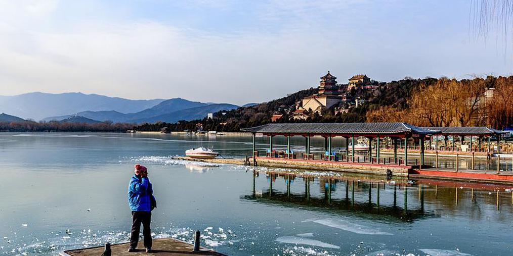 """北京寒流来袭 昆明湖""""冰封"""""""
