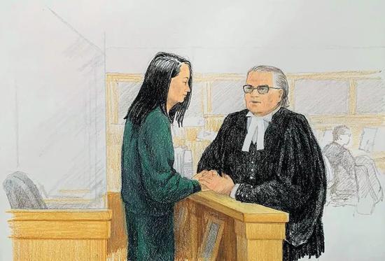 12月10日,关于孟晚舟的第二场保释听证会法庭现场绘画实录。图/视觉中国