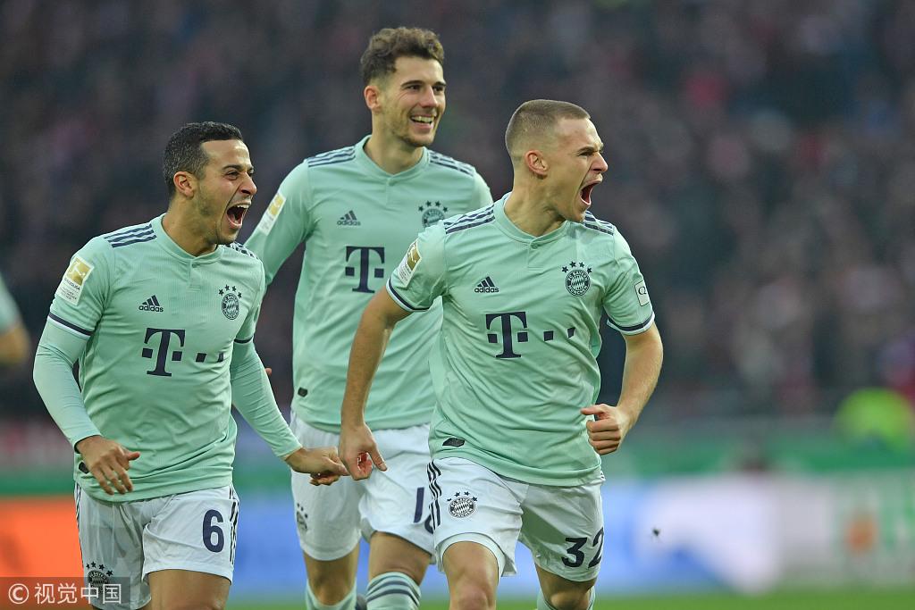 德甲-莱万破门基米希2传1射 拜仁客场4-0汉诺威