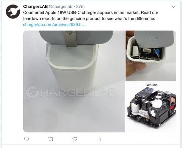 苹果18W充电器发布仅俩月 假货已上市