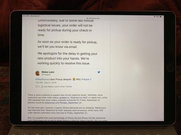 外媒称2017款iPad Pro被曝屏幕集体出现亮点