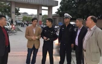 飙车|揭阳某中学门口出现社会青年飙车,交警进行拦截