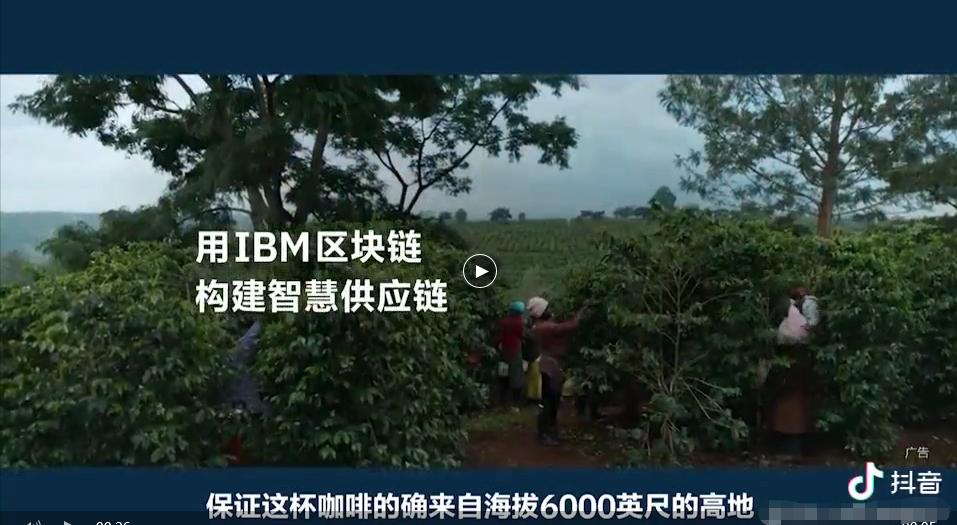 IBM区块链+咖啡 广告打到抖音,项目或已落地?