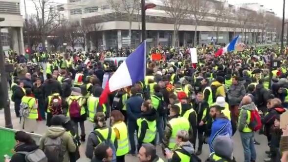 法国黄背心电视台前抗议假新闻 呼吁总统辞职