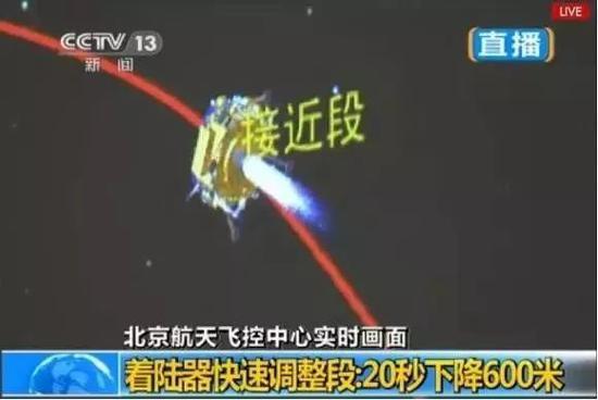 嫦娥3号接近段制动动画(图片来源:CCTV)