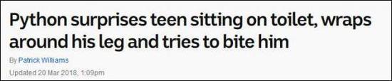 """""""巨蟒吓到了坐在厕所里的小孩,缠住了他的腿还差点咬了他"""""""