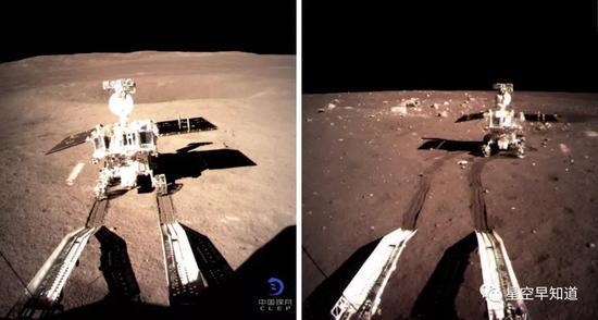 """左图:2019年1月3日,""""玉兔二号""""驶上月面的照片;右图:2013年12月15日,""""玉兔号""""驶上月面的照片;这是中国的两辆月球车"""