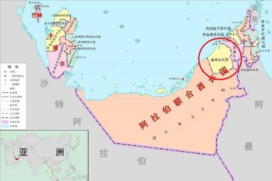 图3:迪拜和阿布扎比的面积对比(红圈为迪拜)