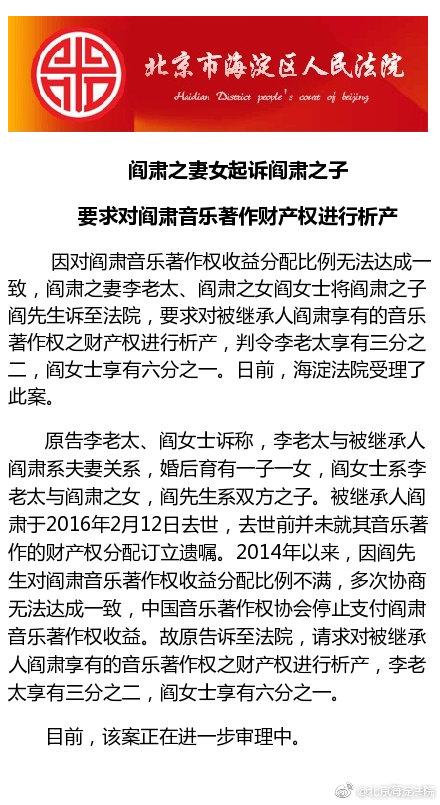 阎肃妻女起诉阎肃儿子 要求对著作财产权进行析产