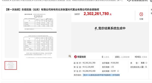 贾跃亭旗下世茂工三流拍! 4.  5万次围观无人出价