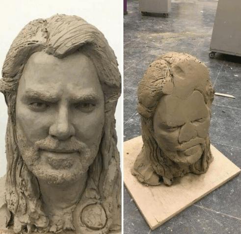 不小心把刚做好的雕塑摔地上了