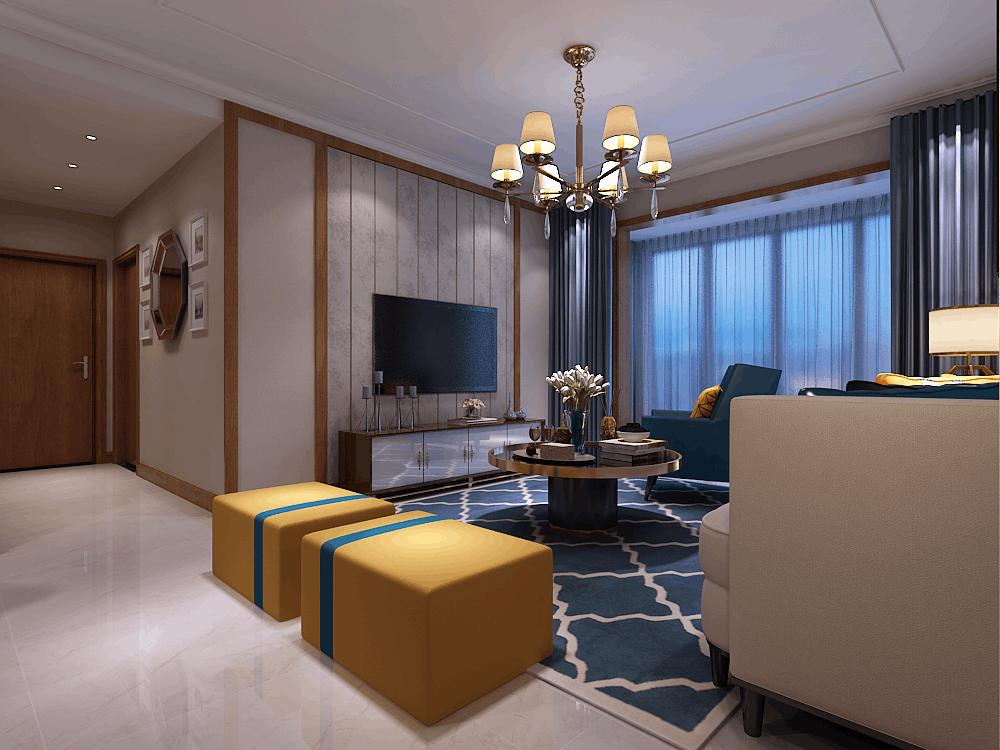 绿地滨湖国际城120㎡三居室效果图