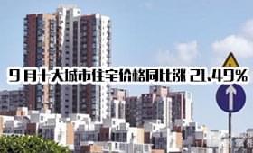 9月十大城市住宅价格同比涨21.49% 深圳涨41.88%