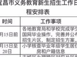 宜昌小学新生7月2日至5日到校登记